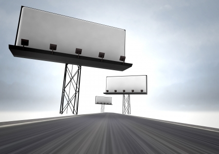afar: highway with three blank billboards illustration Stock Photo