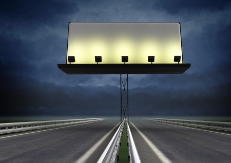 blank road sign: highway with lighted blank billboard and evening skyt illustration