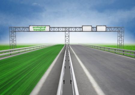 faster: left green eco faster highway track illustration