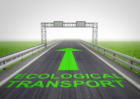 guardrail: motorway only for ecological transport with sky illustration Stock Photo