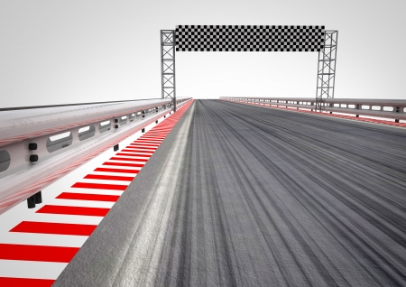 one vehicle: race circuit finish line perspective illustration Stock Photo