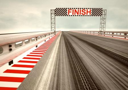 one vehicle: tyre drift on race circuit finish line illustration