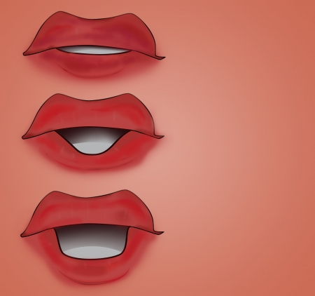 red lips mouth set red card background illustration illustration