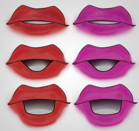 pink and red lipstick colored mouth set illustration illustration