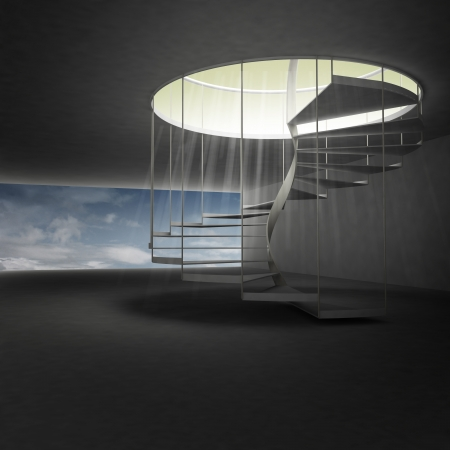 above clouds: spiral staircase leading to heaven above clouds illustration