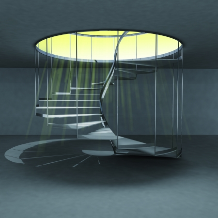 handrail: indoor spiral staircase with yellow magic holy flare illustration