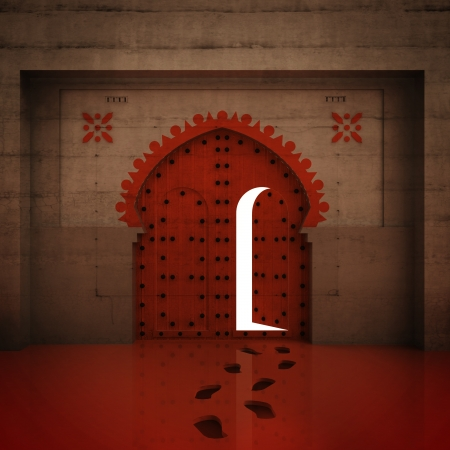 timbered: opened red doorway in the wall with footprints illustration Stock Photo