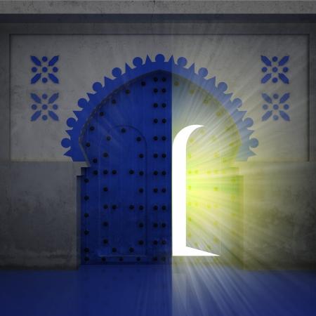 opened blue doorway exploration with yellow glow illustration Stock Illustration - 17979485