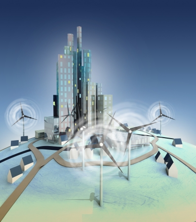 urbanism: ecological urbanism powered with windmills general view illustration
