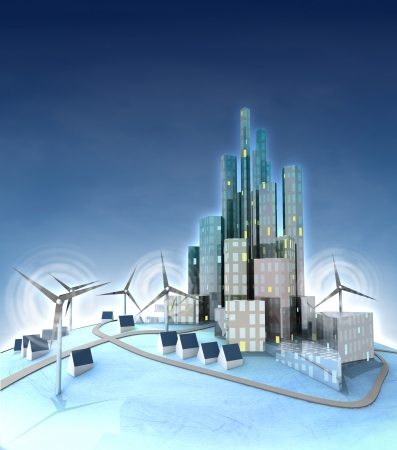 ecological city development, general view with windmills illustration illustration
