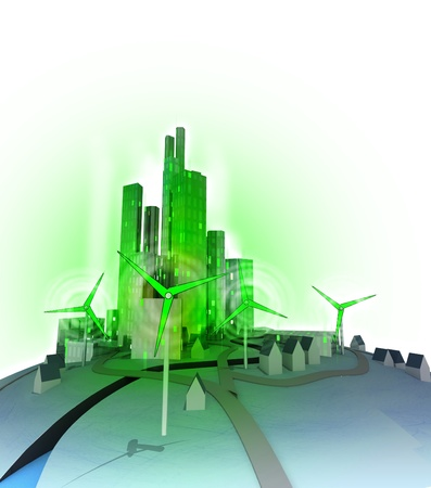 windmills create electricity for modern ecological green city illustration illustration