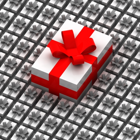 smaller: One big present box over other smaller illustration