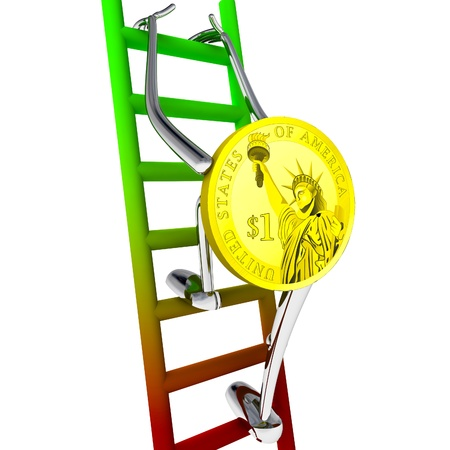 dollar coin robot climbs up the ladder rendering illustration Stock Illustration - 18357047