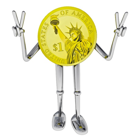 victor: dollar coin robot victor showing victory rendering illustration