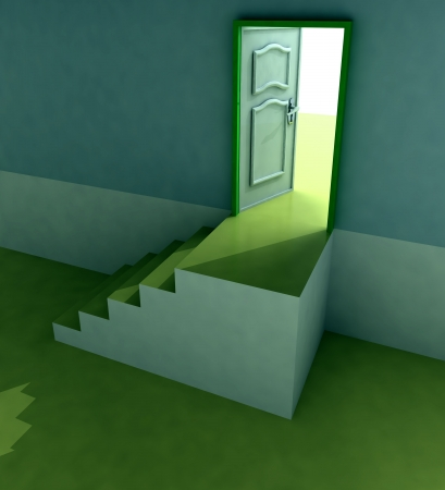 yellow staircase doorway passage perspective illustration illustration