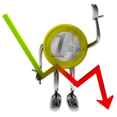 descending: euro coin robot hold descending graph illustration rendering Stock Photo