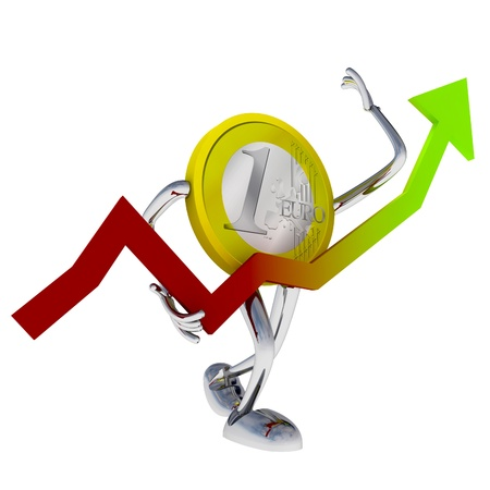 euro coin robot hold rising economy graph illustration rendering illustration