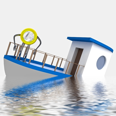 euro coin sinking during the cruise rendering illustration illustration