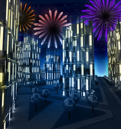 Shiny colorful pyrotechnics show in modern business city illustration illustration