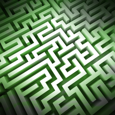 escape route: labyrinth green light structure perspective upper view illustration