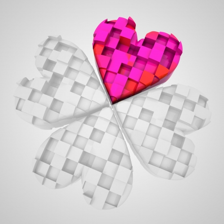 red heart in dimensional cloverleaf black and white composition illustration Stock Illustration - 18357039