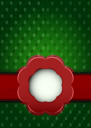 shape dotted fabric with red ribbon blossom over vector illustration Stock Vector - 18427149