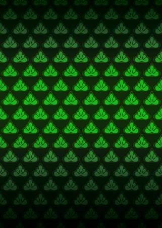 secession: green foliage secession pattern dark background vector illustration Illustration