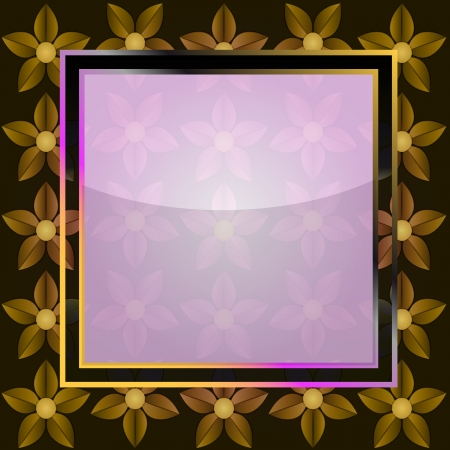 writable: yellow blossom on blank square frame vector card illustration
