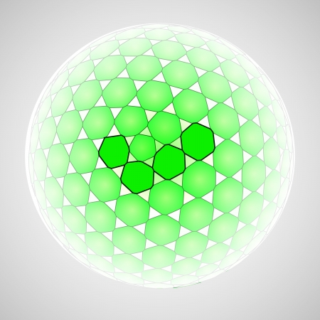 green positive line art polygon vector sphere illustration Stock Vector - 18427144