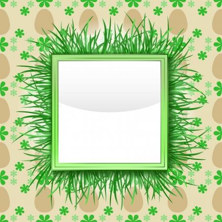 grassy: outer grassy square frame with easter egg pattern vector illustration
