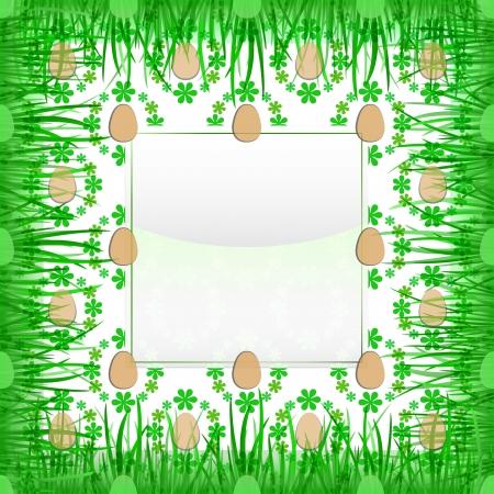 grassy: inner grassy square frame with easter egg pattern vector illustration