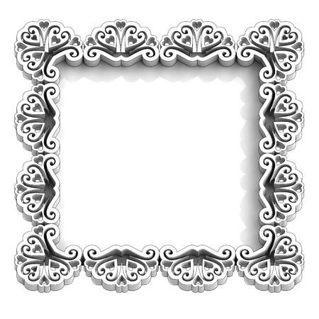 birthday frame: antique retro white frame for text illustration Stock Photo