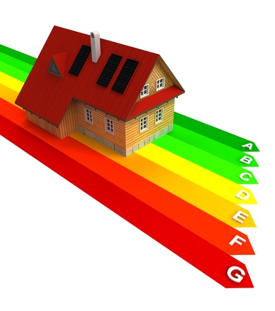 pannel: energy chart with new energy save building illustration