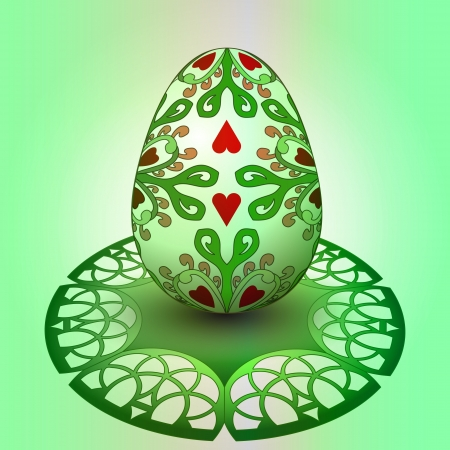 handmade decorated easter egg on green tray illustration illustration