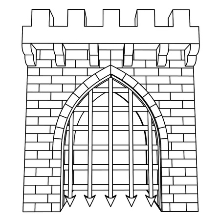 fortification: isolated medieval gate vector drawing to color in illustration