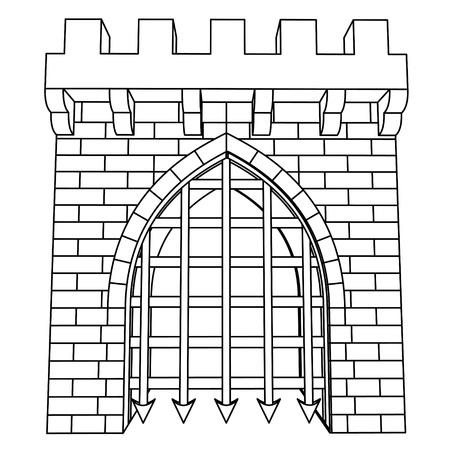 castello medievale: isolato medievale cancello disegno vettoriale da colorare illustrazione Vettoriali