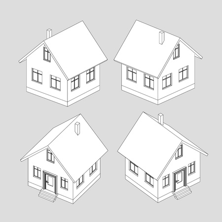 house project vector black and white sketch llustration Stock Vector - 18555067