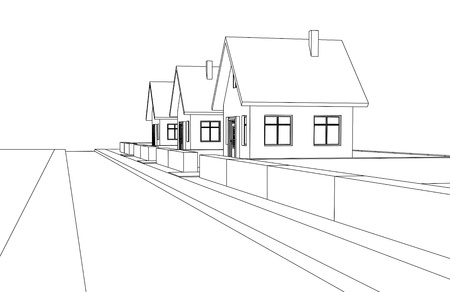 city street development vector perspective sketch llustration Vector