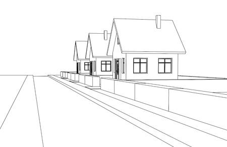 city street development vector perspective sketch llustration Stock Vector - 18555079