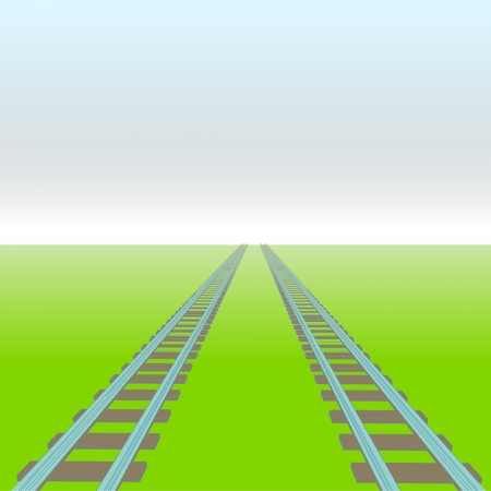 two rails vector perspective way concept illustration Vector