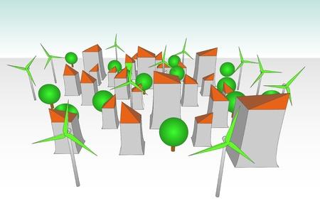 Molino de viento verde alimentado ilustración futurista concepto de ciudad Foto de archivo - 18555084