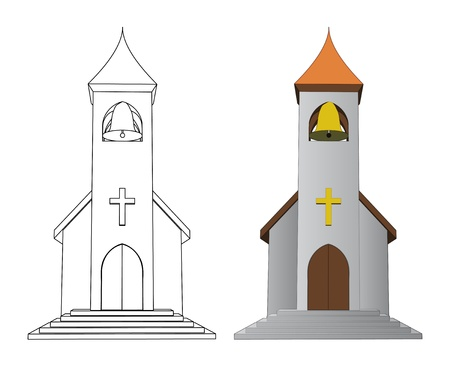 the catholic church: color in and line drawing church with bell vector illustration