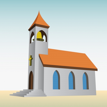 church building: rural church for catholics with bell vector illustration