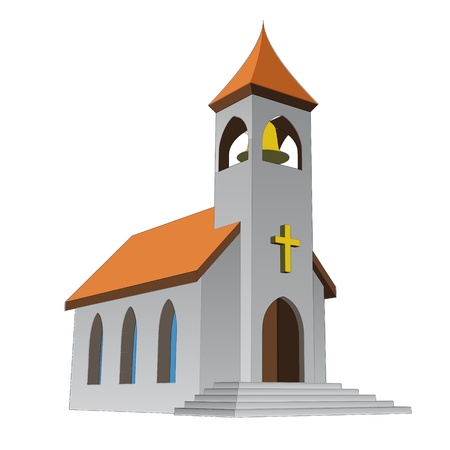 congregation: rural isolated church for catholics with bell vector illustration Illustration