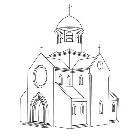 religious building: line art ancient basilica drawing vector illustration
