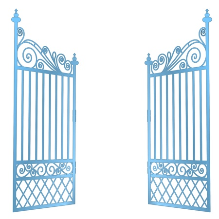 keys to heaven: isolated steel decorated baroque open gate vector illustration