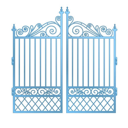 keys to heaven: isolated steel decorated baroque gate vector illustration