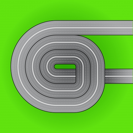 underpass: motorway swirl leading through landscape vector illustration