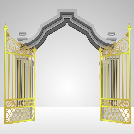 keys to heaven: heavenly gate with open gold fence vector illustration Illustration