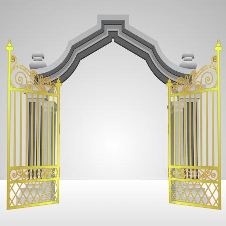 puerta celestial con la ilustración del vector de oro abierta valla